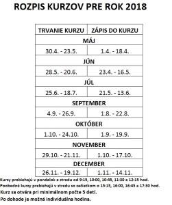 Rozpis kurzov MA 2018